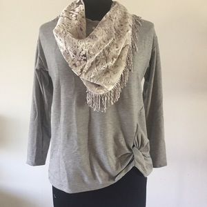 NY Collection Women's Top With Scarf Size S